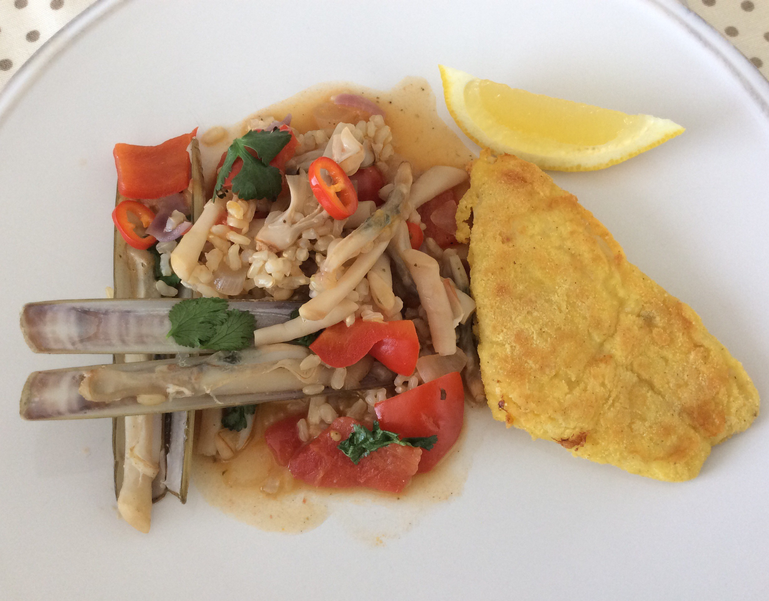 Arroz lingueirão e filetes pescada no mircoondas